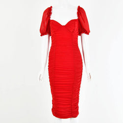 Square Neck Puff Sleeve Party Midi Tight Dress
