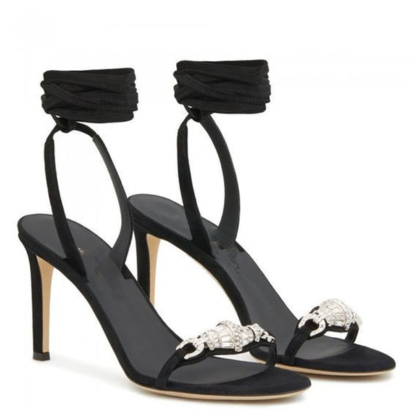Simple Rhinestone Strap Suede Open Toe High Heel Sandals