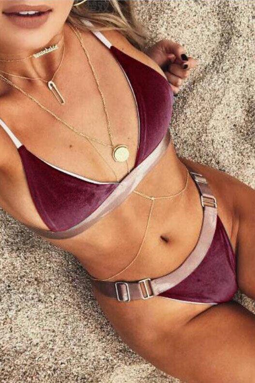 Spaghetti Straps Deep V-neck Low Waist Two Pieces Bikini Set