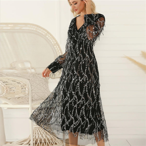Black V Neck Sequins Fringe Long Dress