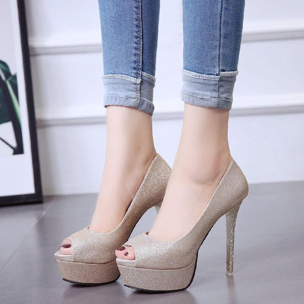 Wedding Leather Heel Platform Peep Toe Sandals