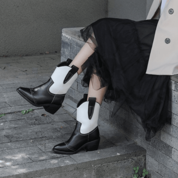 Leather Color Block Chunky Heel Point Toe Calf Boots
