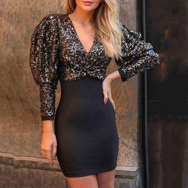 Sequin Gigot Sleeve Bodycon Dress