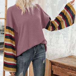 Striped Sleeve Loose Pullover Top