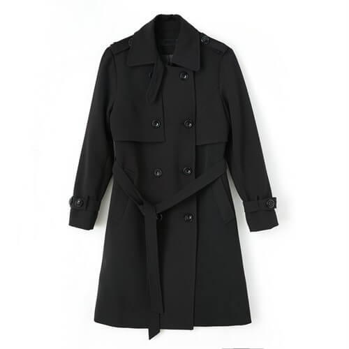 Tie Waist Double Breasted Wool Coats