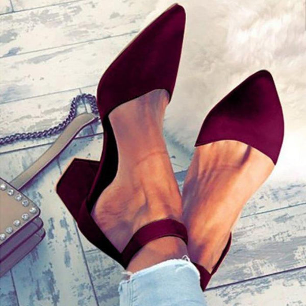 Pointed Toe Suede Buckle Chunky High Heels