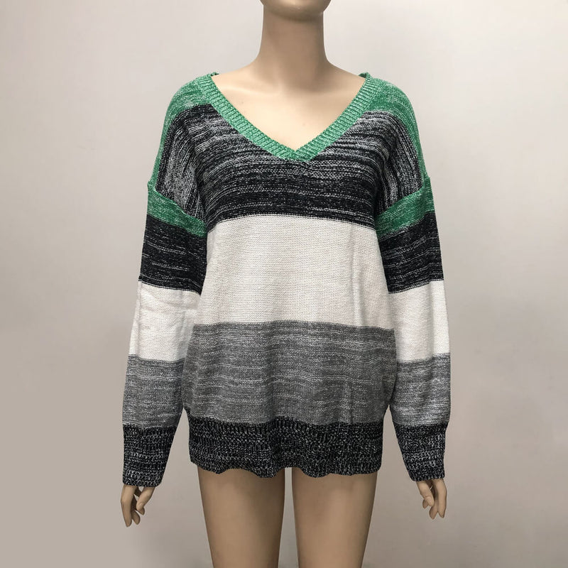 Plus Size Colorblock Knitted Top