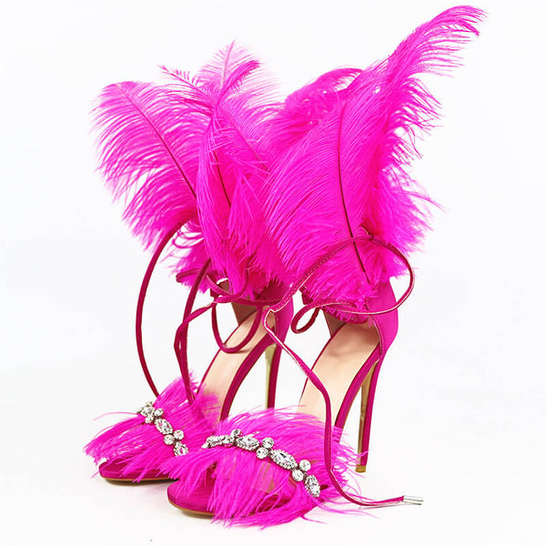 Rhinestone High Heel Fur Party Sandals