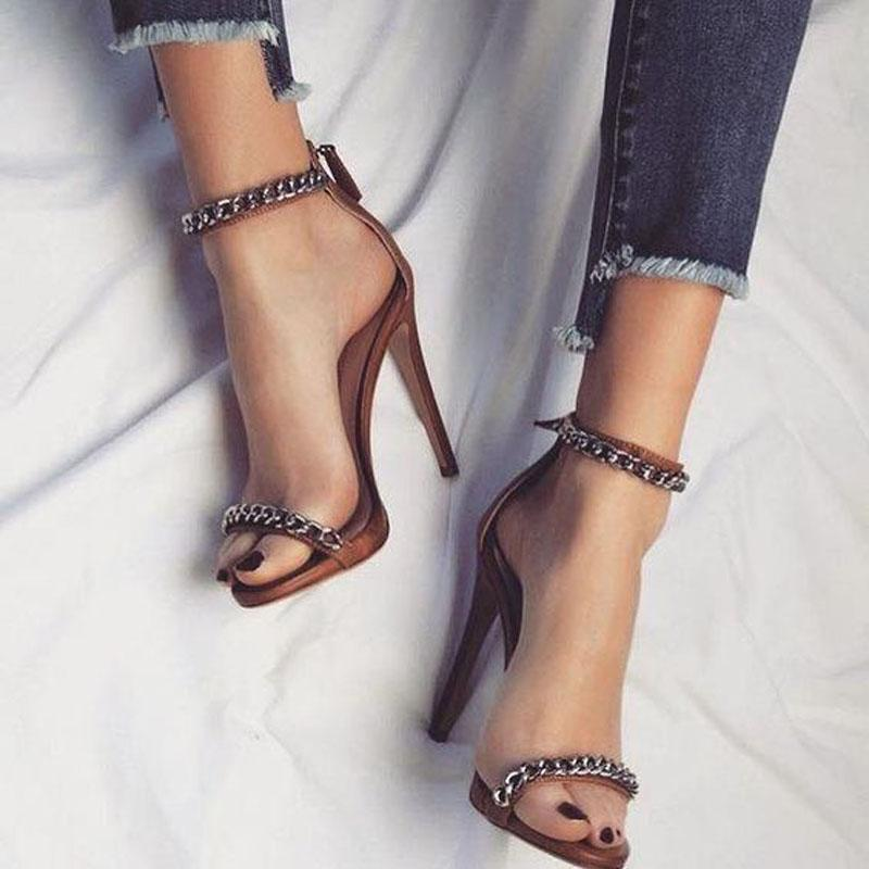 Simple Brown Chain High Heel Sandals
