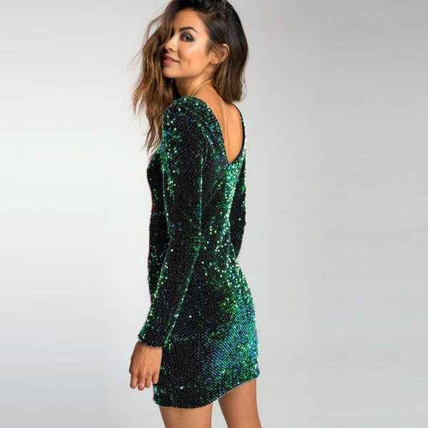 Green Sequins Backless Bodycon Dress