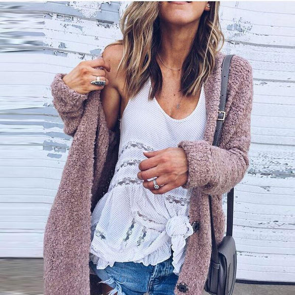 Fashionable Joker Loose Long-Sleeved Fluffy Coat Cardigan