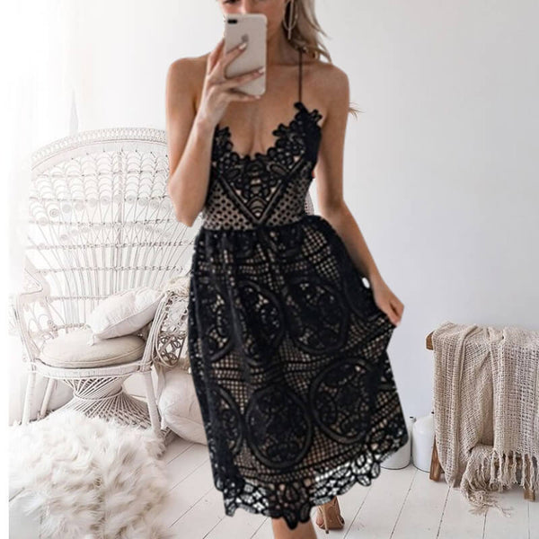Sling Lace Hollow Out Dress