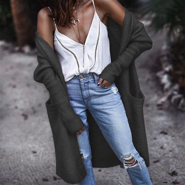 Solid Long Pockets Cardigan Sweater