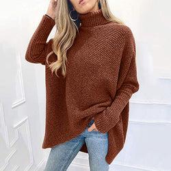 Oversize Turtleneck Pure Color Long Sweater