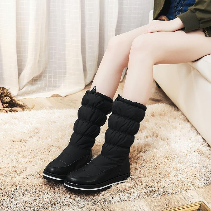 Snow Flat Round Toe Mid Calf Boots