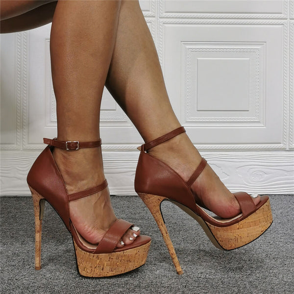 Summer Brown PU Platform Buckle High Heel Sandals