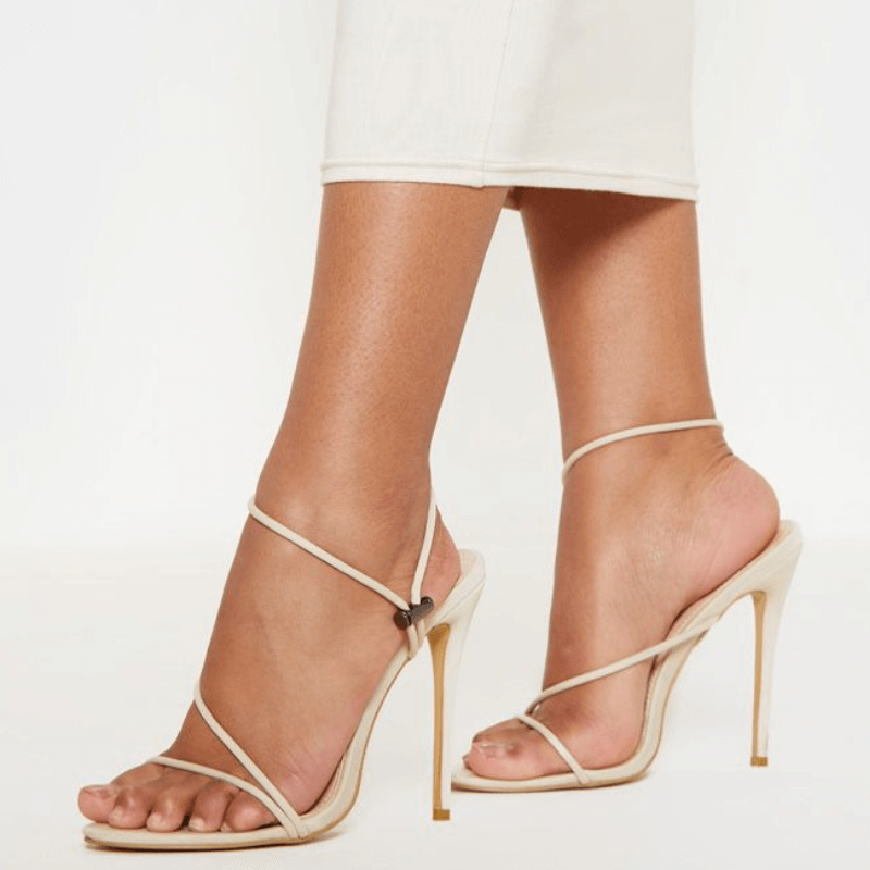 Bright Color Plain Open Toe Stiletto Heel Sandals