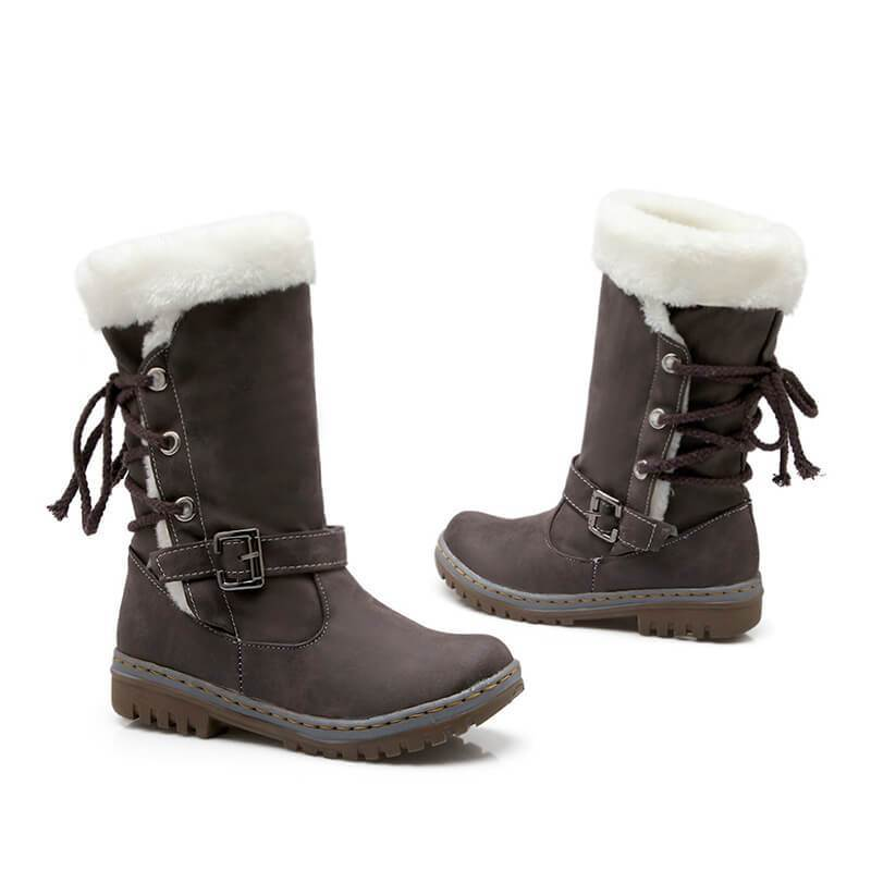 Mid Calf Lace-up Buckled Winter Snow Boots