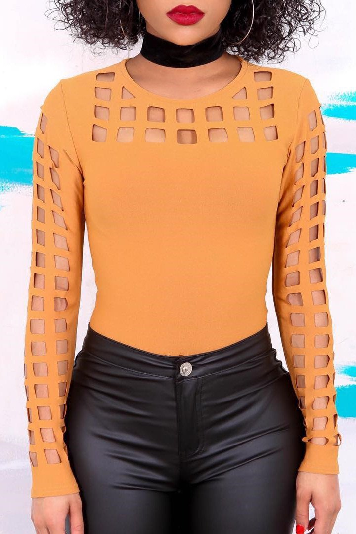 Scoop Pure Color Cut Out Hole Long Sleeves T-shirt