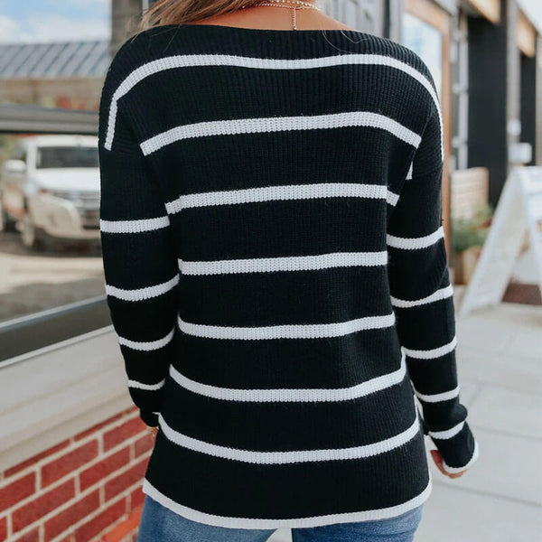 Striped Colorblock Pullover Sweater