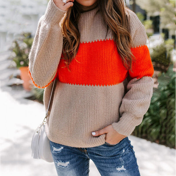 Turtleneck Patchwork Pullover Sweater