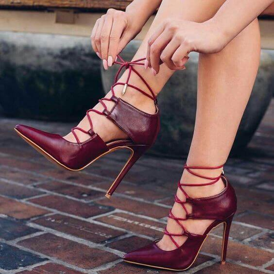 Red Strap Leather Cutout High Heels