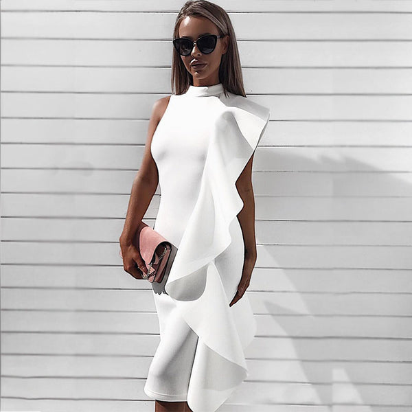 Plain Mock Neck Ruffle Bodycon Dress