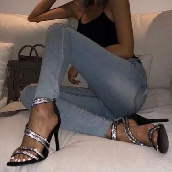Sparkle Rhinestone High Heel Strap Sandals