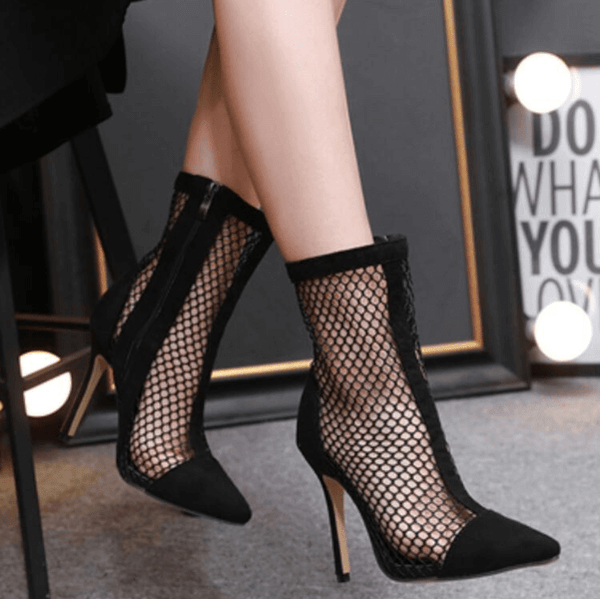 Black High Heel Mesh Closed Pointed Toe Heels