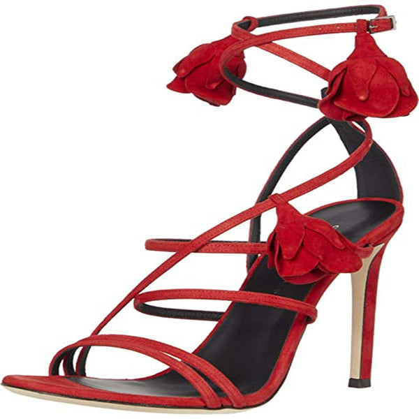 Flower Suede Buckle Open Toe High Heel Sandals
