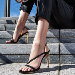Simple Leather Buckle Open Toe High Heel Sandals