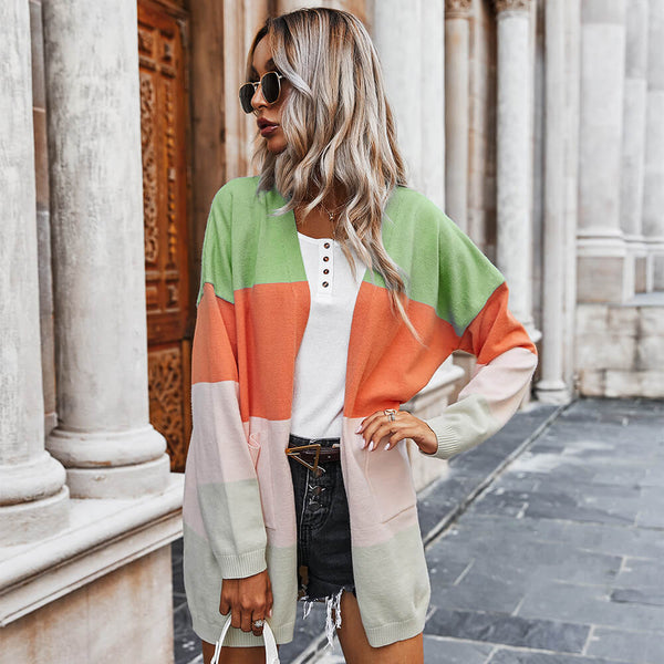 Knitted Colorblock Oversized Cardigan