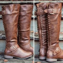 Knee High Leather Low Heel Round Toe Boots