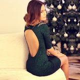 Beading Backless Half Sleeves Sheath Short Dress