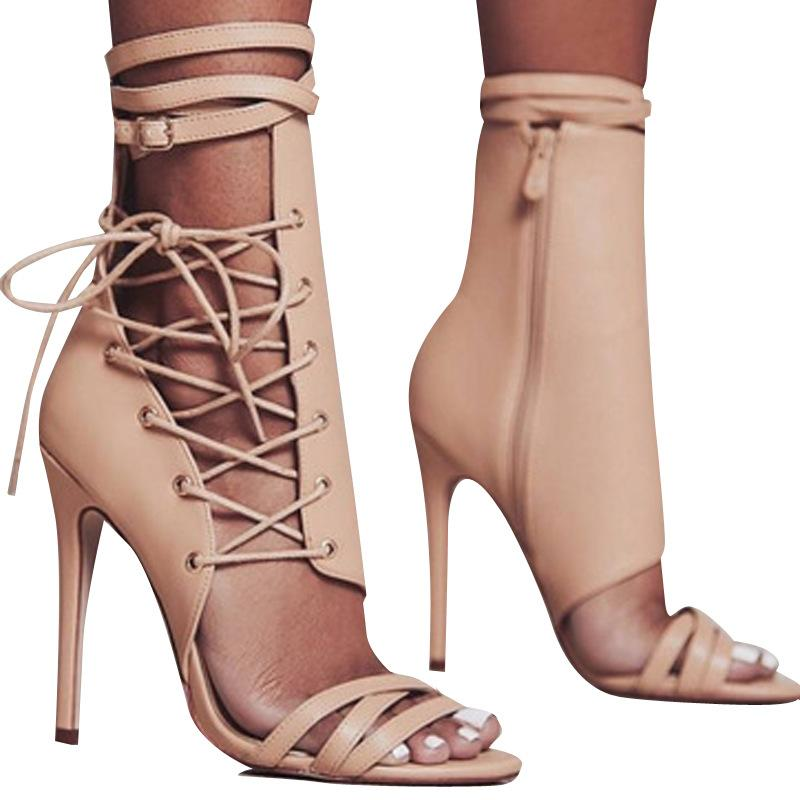 Side Lace Up and Zipper Open-toe Stiletto High Heels Sandals