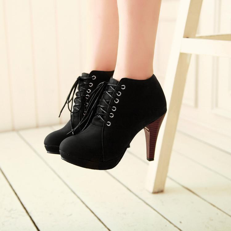 Round Toe Stiletto High Heel Lace Up Ankle Boots - MeetYoursFashion - 1