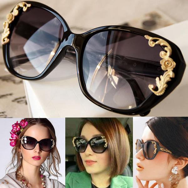 Women's Vintage Gold-tone Roses Carving Oversize Black Frame Sunglasses