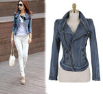 Slim Fit Zipper Long Sleeved Women's Denim Jacket - May Your Fashion - 1
