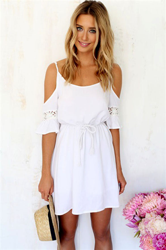 Sweet Lace White Off-shoulder Loose Strap Mini Dress