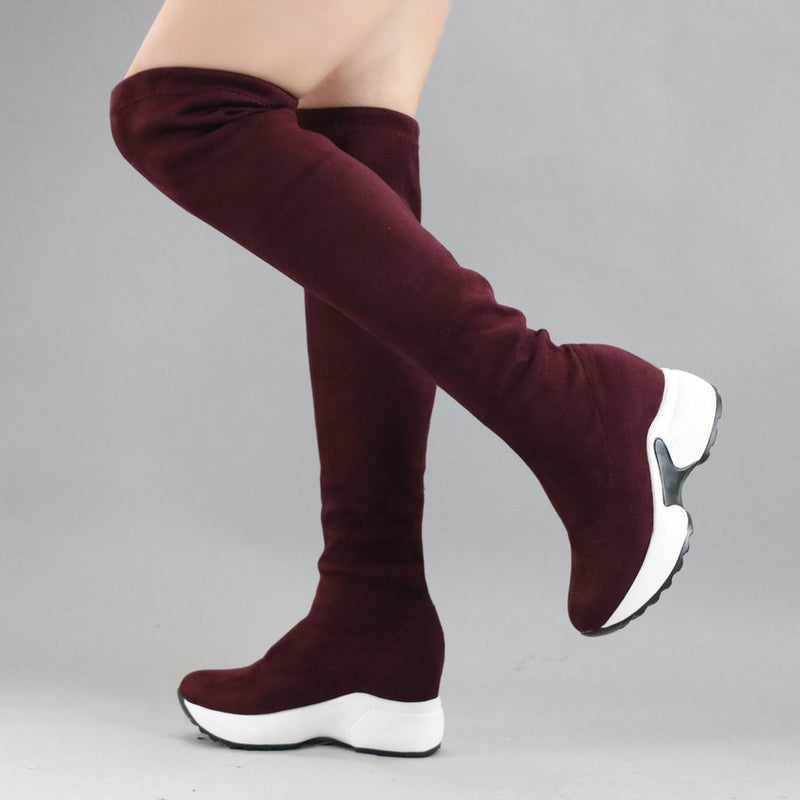 Stretch Height Increasing Round To Over Knee Boots