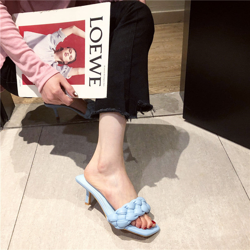 Low Heel Pu Square Toe Slippers