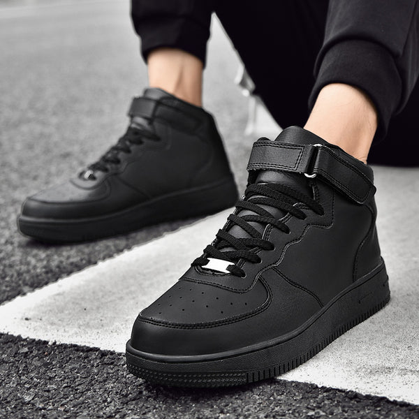 High Top Leather Platform Lace Up Sneakers