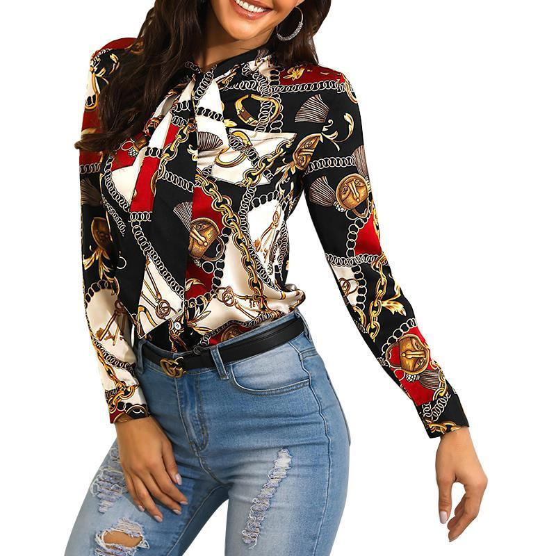 Fashion Chain Printing Ladies Shirt Neckline With Long-Sleeved Casual Shirt Blouse