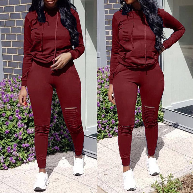 Sports Suits For Women 2 Piece Women'S Tracksuit Long Sleeve Hole Pocket Hoodies Drawstring Pants Loose Tops Set Women'S Suit