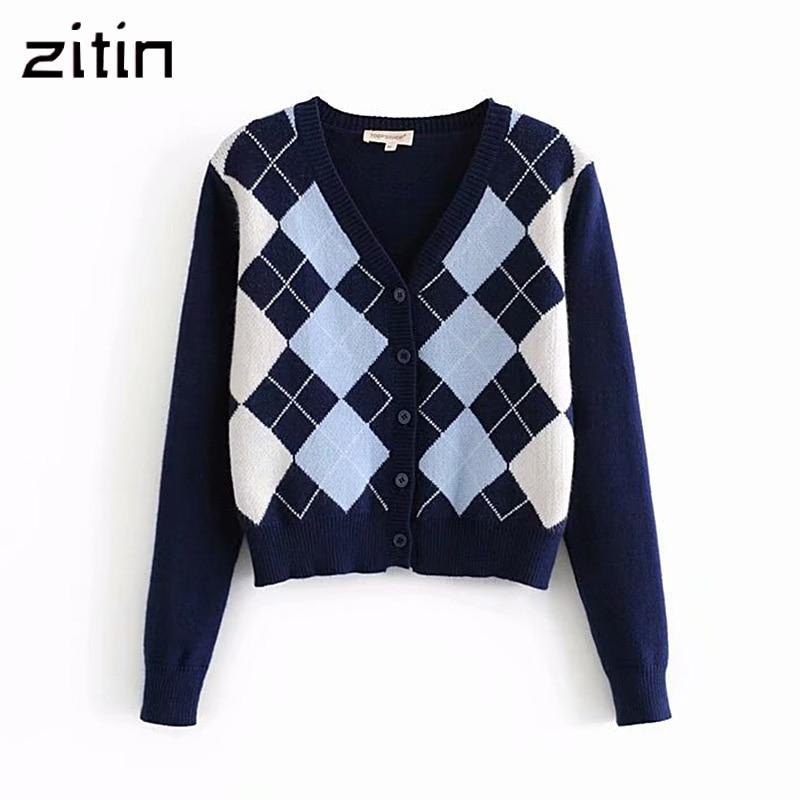 Vintage Stylish Geometric Rhombic Cardigan Sweater Women Fashion Autumn Warm Long Sleeve Outerwear Chic England Style Tops