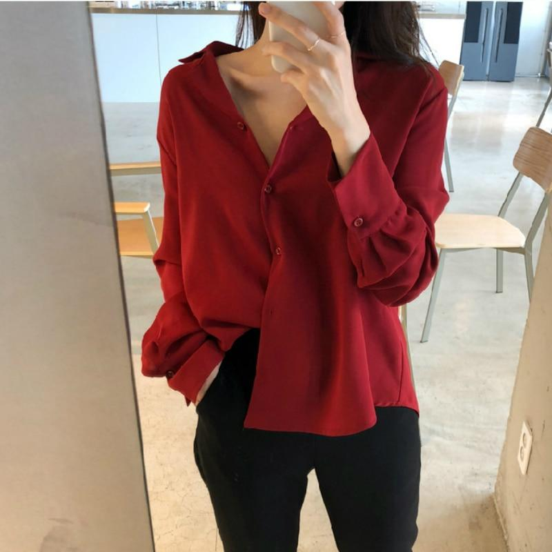Womens Tops And Blouses Solid White Chiffon Blouse Office Shirt Long Sleeve Women Shirts Clothes