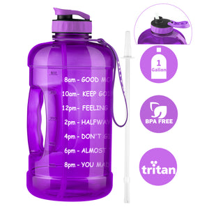 OUTXE Tritan Gallon Water Bottle with Straw 128 oz Motivational Time Marker