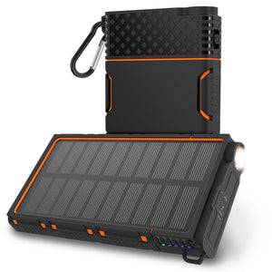 OUTXE Solar Power Bank 10000mAh Rugged Solar Charger Waterproof with Led Flashlight (Orange)