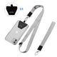Universal Phone Lanyard - 4× Durable Pads, 1× Adjustable Neck Strap, 1× Wrist Strap, Nylon Cell Phone Lanyard Compatible with iPhone, Samsung Galaxy and All Smartphones (Grey)