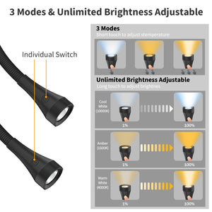 OUTXE Hands-Free Reading Light Around Neck 2000mAh, 3 Colors + Unlimited Brightness Adjustable Perfect for Reading, Knitting, Repairs (Black)